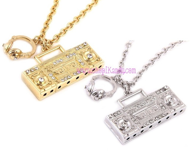 Crystal Boombox & Headphones Necklace