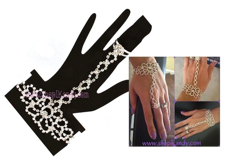 Crystal Studs Ringlet (Bracelet w/Ring)