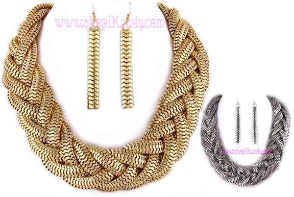 Oversized Braided Zipper Necklace & Earring Set