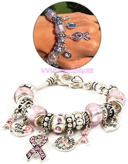 Breast Cancer Awareness Mixed Charms Bracelet