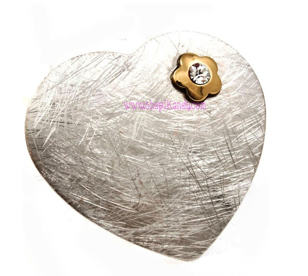 Brushed Metal Heart Shaped Ring w/Flower Detail