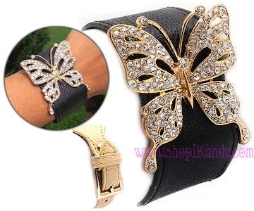 Crystal Butterfly Buckle Bracelet