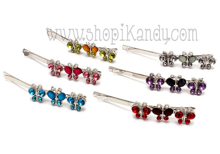 Crystal Stud Butterfly Hair Pins
