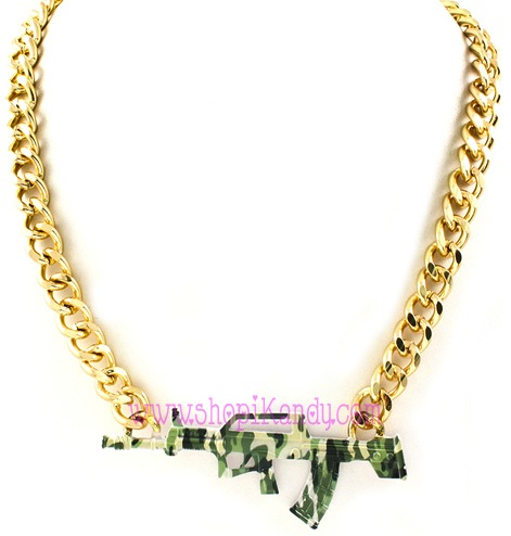 Camouflage Assault Rifle AR15 Pendant Necklace