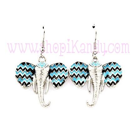 Chevron Print Elephant Earrings