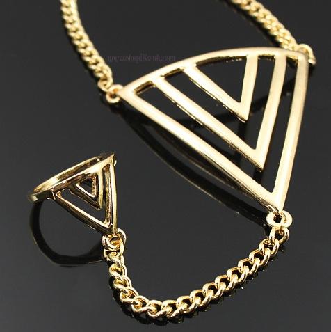 Chevron Pyramid Ringlet (Bracelet w/Ring)