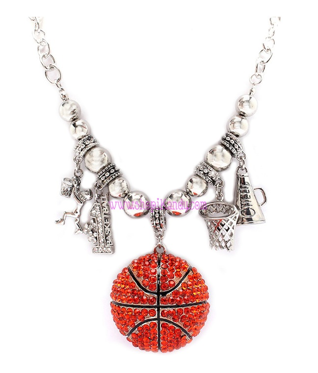 Chunky Bling Basketball Charm Sports Necklace