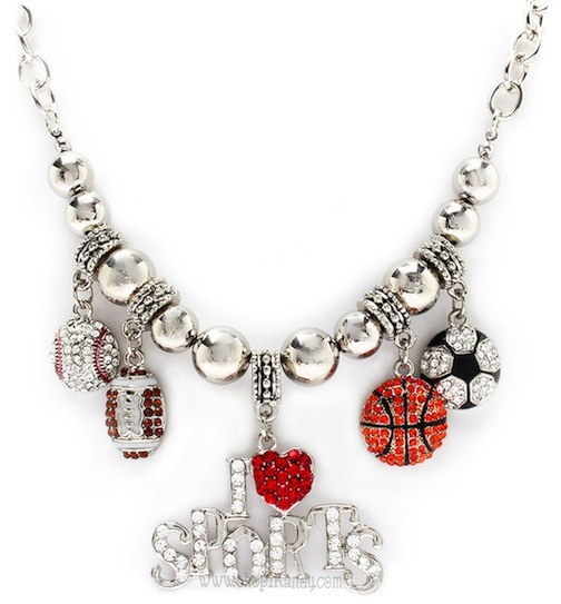 "Chunky Bling ""I LOVE SPORTS"" Charm Necklace"