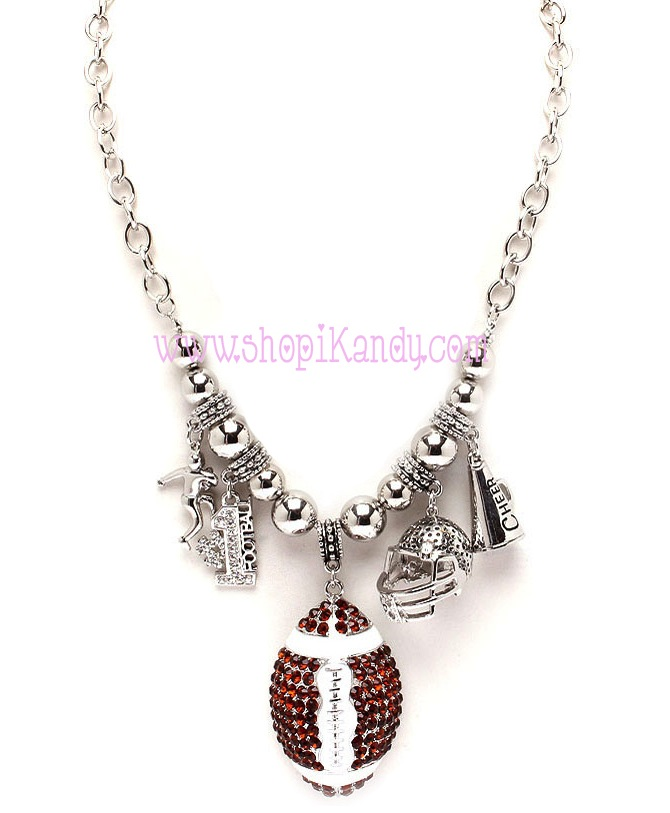 Chunky Bling Football Charm Sports Necklace
