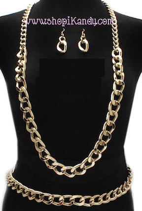 Chunky Necklace/Belt & Earring Set