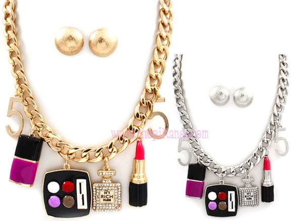 Cosmetology Makeup Charm Necklace & Earring Set