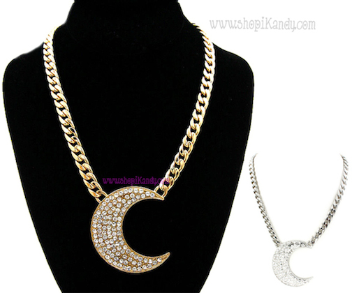 Crescent Moon Bling Necklace