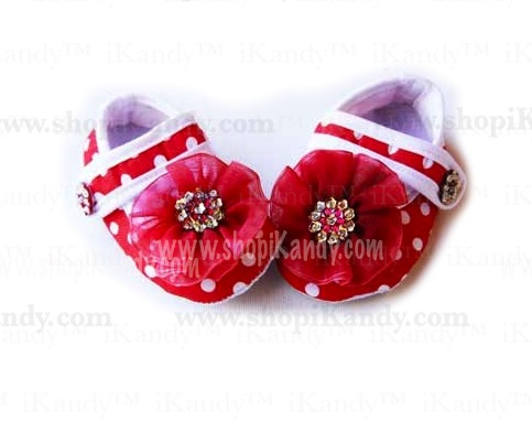Red Polka Dot Infant Crib Shoes