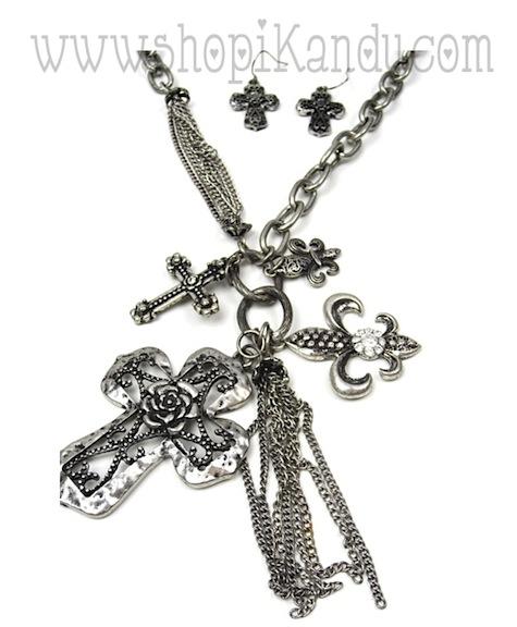 Cross Charm Necklace Set