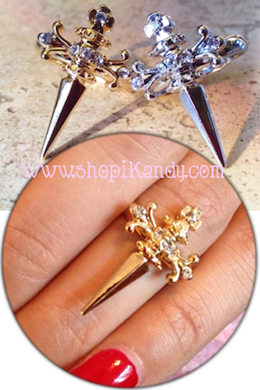 Crystal Cross Dagger Ring