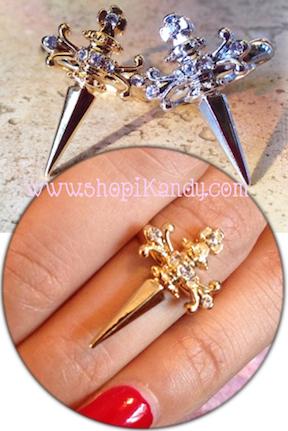 Crystal Cross Dagger Ring