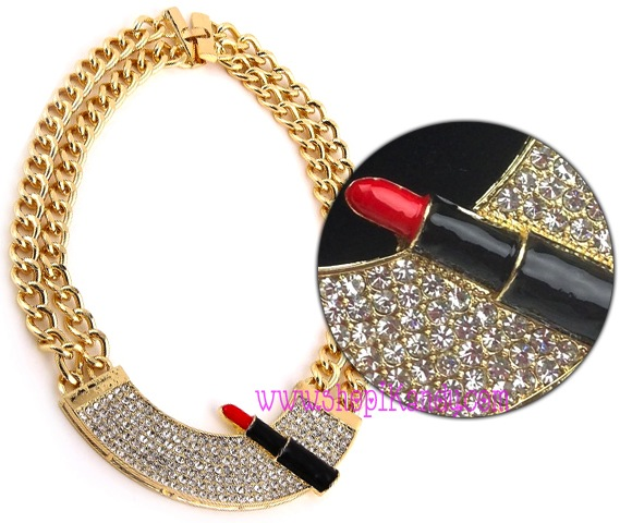 Bling Lipstick Bib Necklace