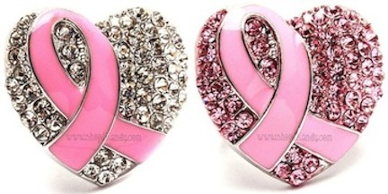 Cancer Survivor Pink Ribbon Heart Ring