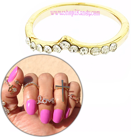 Crystal Chevron Midi Ring