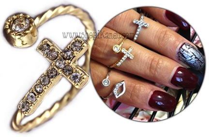 Crystal Cross Swirl Midi Ring