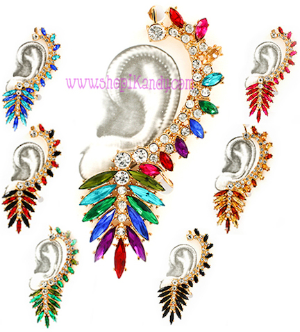#J7406 Long Feathered Snap-On Ear Cuff