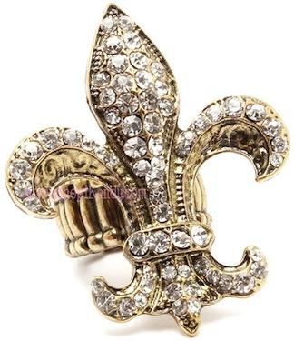 Crystal Fleur De Lis Ring