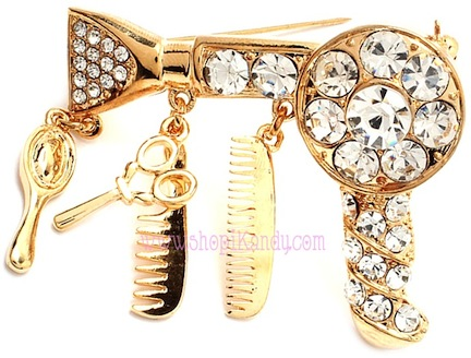 Crystal Hair Stylist Blow Dryer Brooch & Pin
