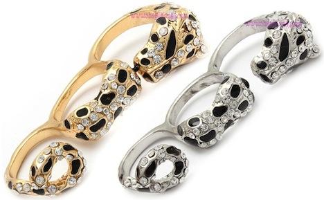 Crystal Jaguar Three Finger Ring