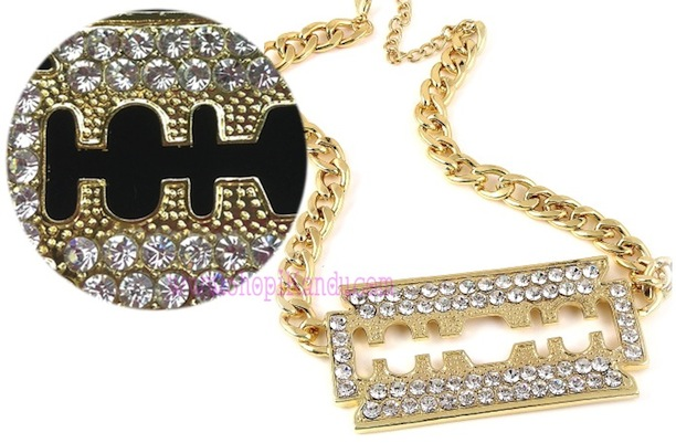 Bling Razor Blade Pendant Necklace