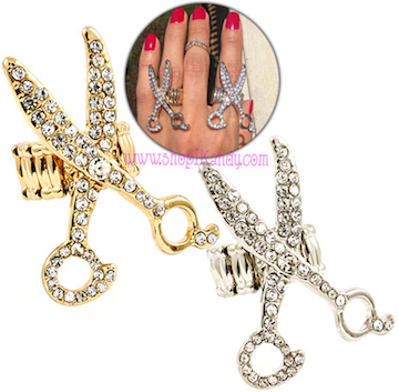 #J7449 Crystal Scissors Hair Stylist Ring