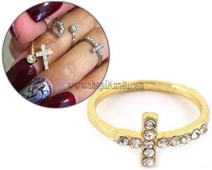 Crystal Sideways Cross Midi Ring