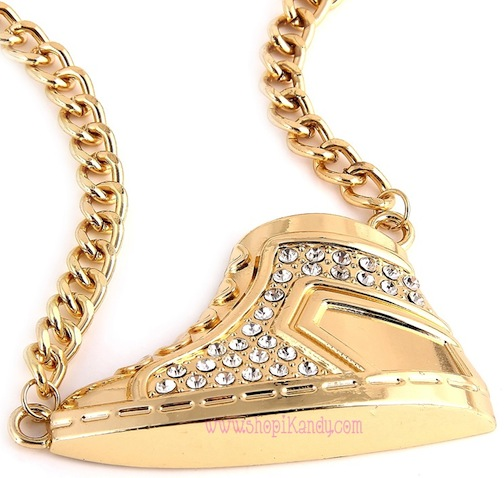 Bling Sneaker Pendant Necklace