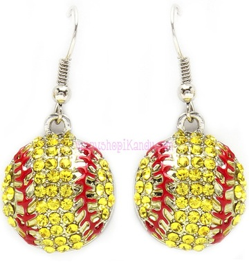 Crystal Softball Sports Earrings