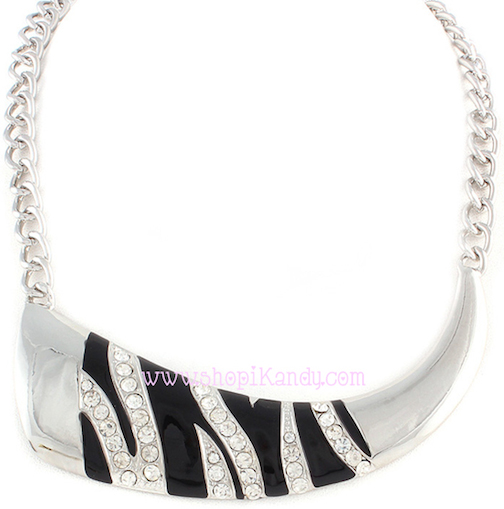 Crystal Zebra Print Necklace