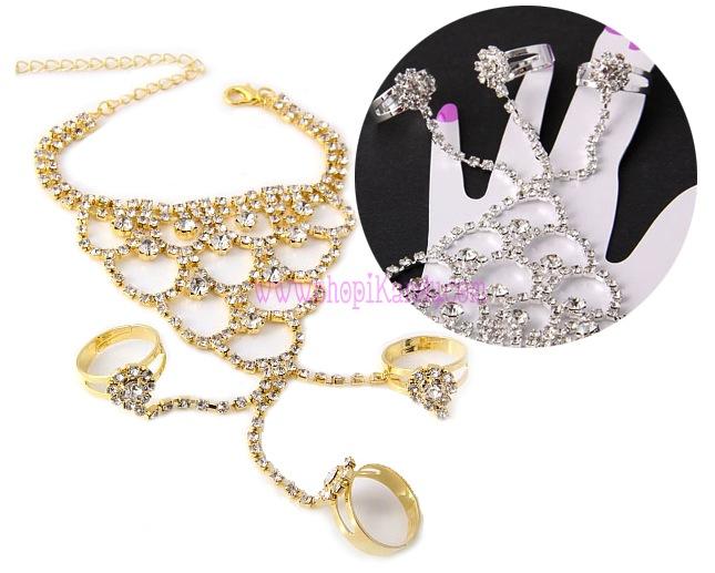 Crystal Cascading Fashion Ringlet (Bracelet w/ 3 Rings)