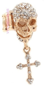 Crystal Skull w/ Cross Charm Ring