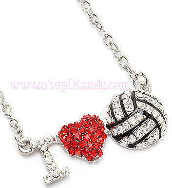 Dainty I LOVE Volleyball Necklace