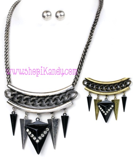 Modernist Dangling Arrow Heads Necklace & Earring Set