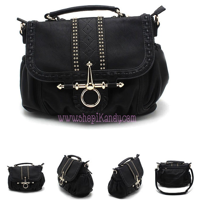 Studded Black & Gold Designer Inspired Handbag