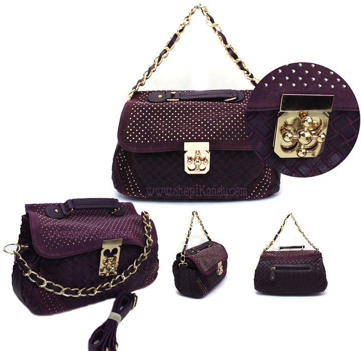 Plum & Gold Designer Inspired Handbag