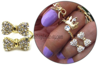 Double Bling Bow Midi Ring