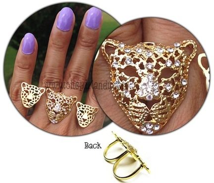 Triple Leopard Head Two Finger Ring