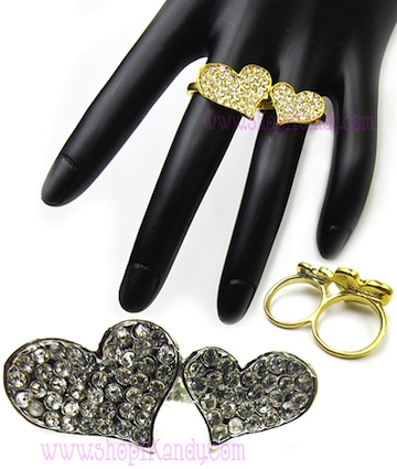 Double Bling Heart Two Finger Ring