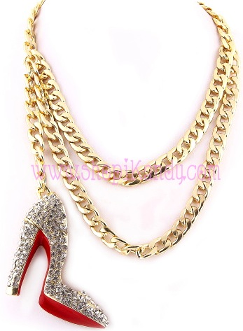Double Chain Christian Louboutin Inspired Dangling Bling Stiletto Necklace