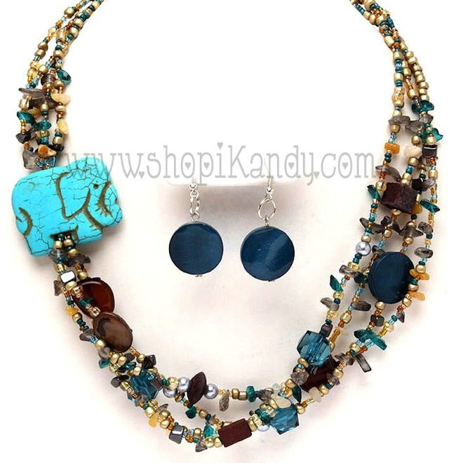 Elephant Beaded Necklace Set