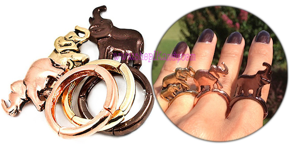 Cute Elephant Three Ring Set