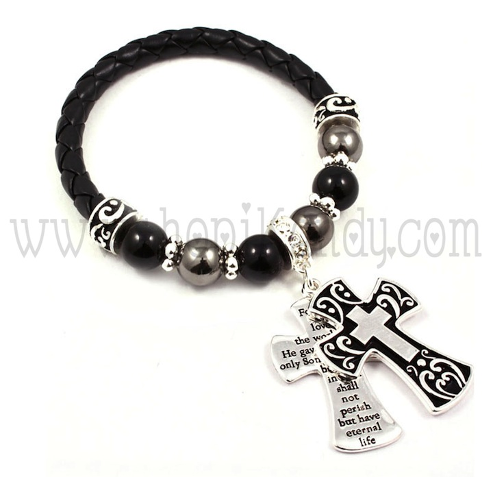 Bible Verse Engraved Cross Charm Bracelet