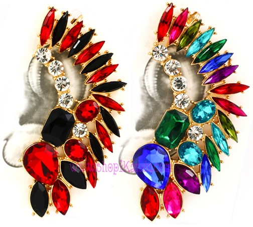Feathered Teardrop Snap-On Ear Cuff