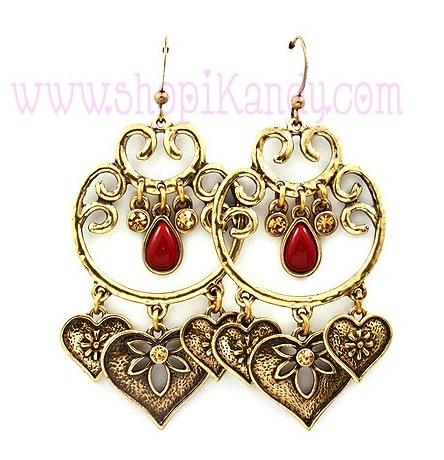 Filigree Heart Chandelier Earrings