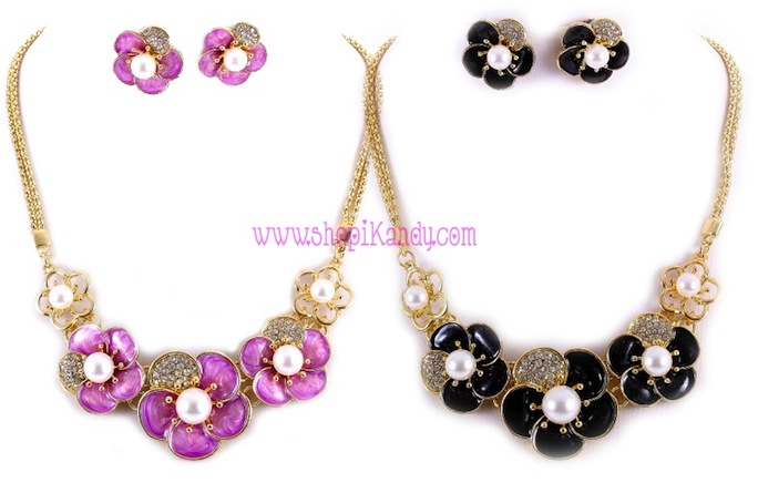 Flower and Rhinestones Necklace & Earring Set